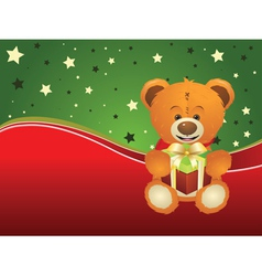 Teddy Bear with Gift Box3 vector image vector image