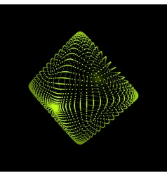 Transparent octahedron object with dots grid vector