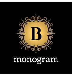 Vintage monogram frame template vector image vector image