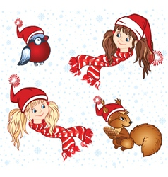 Winter girls in a cap and scarf vector image vector image
