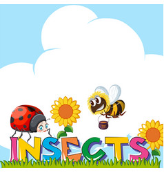 Wordcard for insects with insects in garden vector