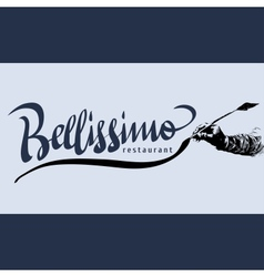 Bellissimo hand lettering - handmade calligraphy vector image