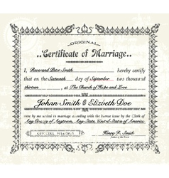 Vintage marriage certificate vector