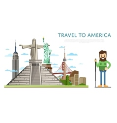 Travel to america banner with famous attractions vector