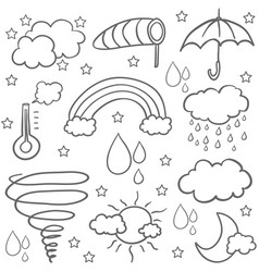 Doodle of weather set flat vector