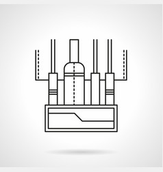 Audio mixing console flat line icon vector