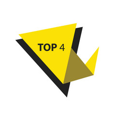 Top4 text in label black yellow vector