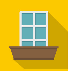 white window and flower box icon flat style vector image