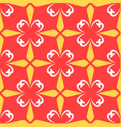 Red arabic ornamental ceramic tile vector