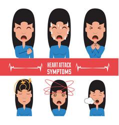 Set woman heart attack symptoms vector