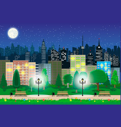 Modern city view in night cityscape and park vector
