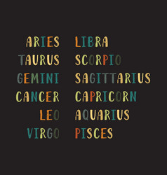 Zodiac signs names vector