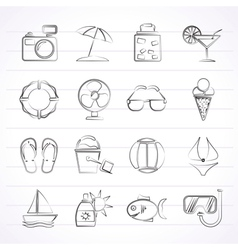 Summer and beach icons vector