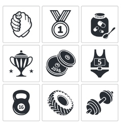 Weight lifting and arm wrestling icon set vector