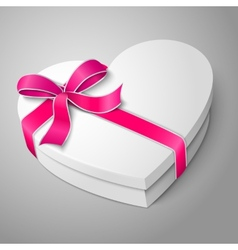 Realistic blank white heart shape box with pink vector