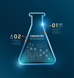 Creative template chemistry test tube banner line vector