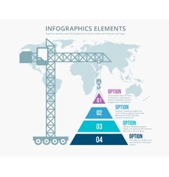 Pyramid chart options construction infographics vector