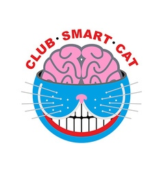 Logo cat club smart cat animal and brain emlema vector