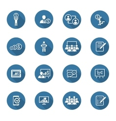 Business coaching icon set online learning flat vector