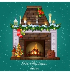 Postcard with christmas fireplace burning vector