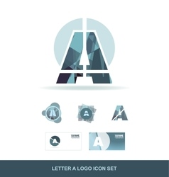 Letter a logo icon set vector