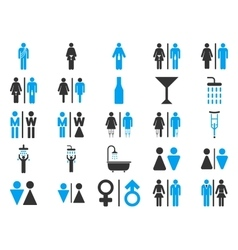 Toilet persons flat icon set vector