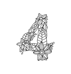 Number 4 coloring book for adults vector image