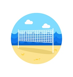 Volleyball net beach sport icon summer vacation vector