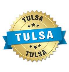 Tulsa round golden badge with blue ribbon vector