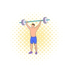 Man with barbell icon comics style vector