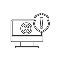 Computer and c icon copyright design vector