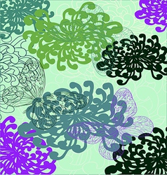 A background in bright flowers and butterflies vector
