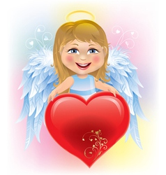 Angel little girl and Valentines Day heart vector image