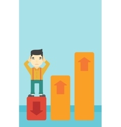 Bankrupt standing on chart going down vector image vector image