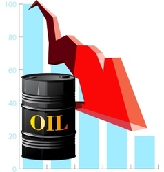 barrel of oil and the falling prices vector image