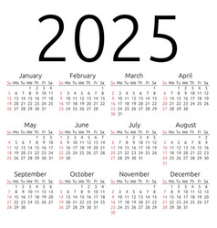 Calendar 2025 sunday vector