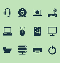 Computer icons set collection of hdd printing vector