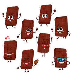 cute and funny chocolate bar characters showing vector image vector image