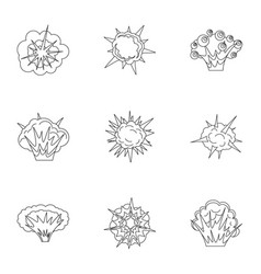 different explosion icons set outline style vector image