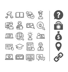 education line icons book video tutorial vector image vector image