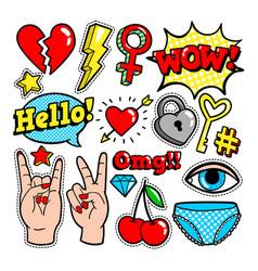Fashion patches in cartoon 80s-90s comic style vector
