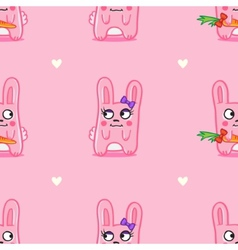 Funny cartoon bunnies st valentine day seamless vector