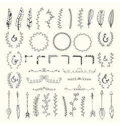 Hand drawn vintage floral elements Weddings vector image vector image