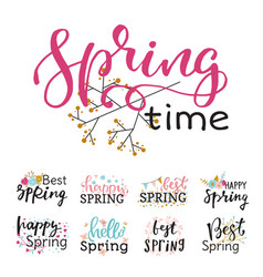 Hello spring time lettering text greeting vector