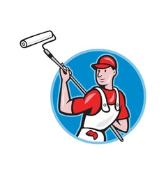 House painter with paint roller cartoon vector