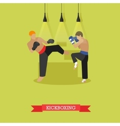 Kickboxers fighting flat design vector