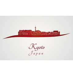 Kyoto skyline in red vector image vector image