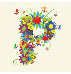 letter P floral design vector image vector image