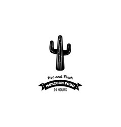 mexican restaurant icon template of cactus vector image vector image