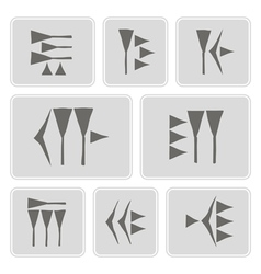 Monochrome icons with cuneiform vector